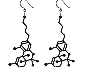 THC Molecule Earrings - Matte Black