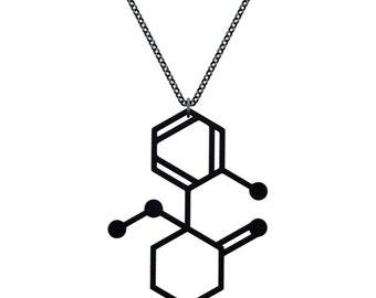 Ketamine Molecule Necklace - Matte Black