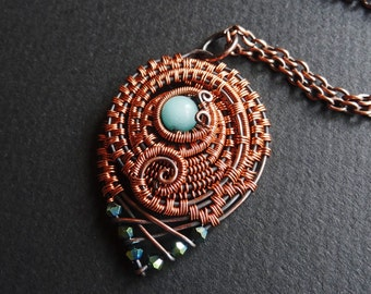 Roundabout -- Copper Wire Wrapped Woven Pendant Necklace Amazonite Crystal