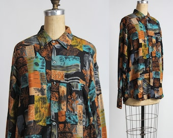 SALE- 1960s Shirt Abstract Print