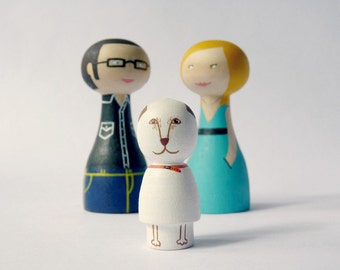 FREE SHIPPING Custom Family of 3 Dolls with a pet Personalized Wooden hand painted woman man pet lover dog cat couple male