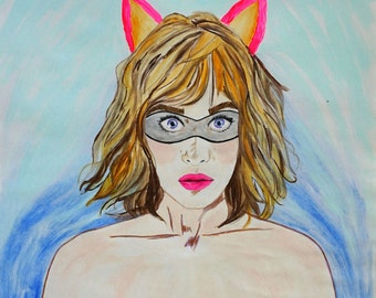 "Crafterella Lizzy Caplan Fan Art Acrylic Painting on Paper, Female Superhero Woman Portrait, Bright Aqua Blue Wall Art Pink Cat Ears 14""x17"""