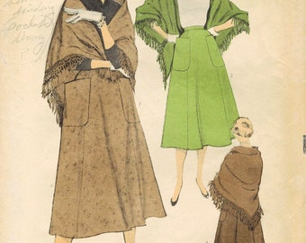 1950s Advance 6519 Vintage Sewing Pattern Misses Skirt and Shawl-Stole Size Waist 26