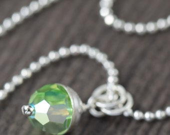 Valentine's Day gift Green Pendant necklace of Swarovski crystal necklace with sterling silver crown green flash necklace gifts for her