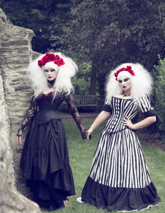 Tim Burton Wedding Gown Black White Stripe Victorian