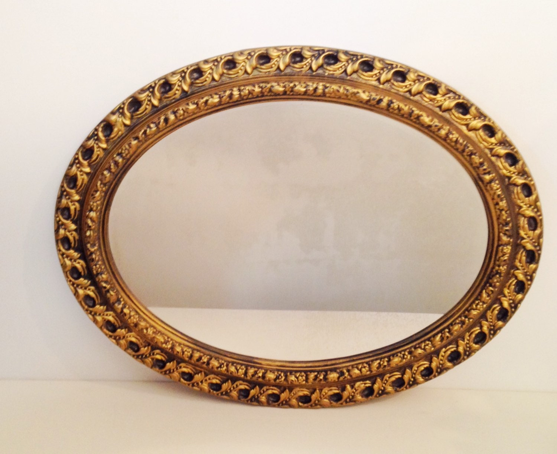 Large Gold Frame Mirror: Vintage Mirror Large Oval Antique Gold Framed By
