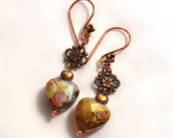 Picasso Heart Earrings Faceted Murano Copper Flower Dangles Art Glass by Annie O
