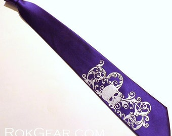 Dark Purple and silver distressed skull necktie - mens microfiber necktie