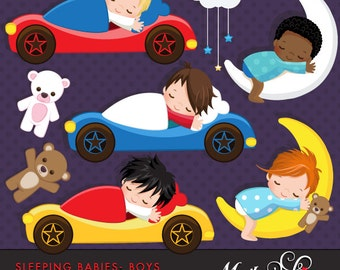 Sleeping Babies in car beds Clipart Instant Download Baby graphics