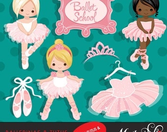 Ballerina Clipart with cute characters, pink tutu, ballet shoes Graphics, ballet school, tiara, ballet dress, invitation, embroidery, art