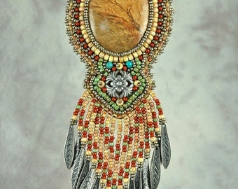 Necklace, besded, bead embroidery,  picture jasper, scenic