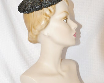 Clearance 50s 60s Vintage Black Pixie Hat with Bows Evelyn Varon Exclusive