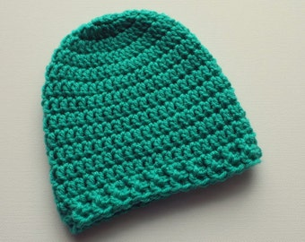 Newborn Crochet Hat, Spearmint Green Beanie, Baby Hat, Infant Photo Prop, Coming Home Hat, Baby Boy Hat, Baby Gift, Ready to Ship