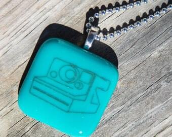 Fused Glass Pendant - Polaroid Camera - black on teal