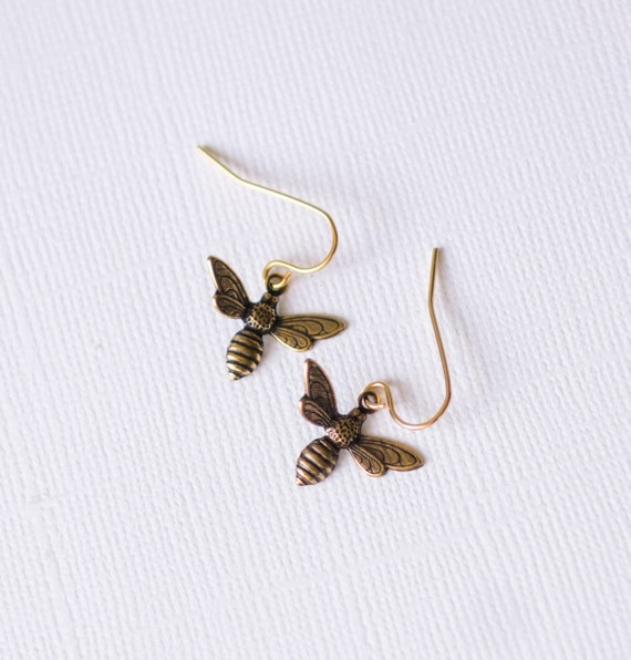 Bee Earrings, gold, pretty, nature-inspired, ocean, bees, garden, floral, insect, delicate, stamped, jewelry, Handmade in Santa Cruz