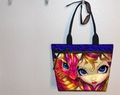 Jasmine Becket-Griffith Pink baby dragon & girl tote bag, book tote, large purse, canvas tote, shoulder bag