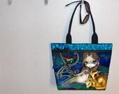 Mermaid Golden Dragon tote bag, Jasmine Becket-Griffith, book tote, large purse, canvas tote, shoulder bag