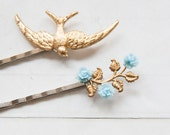 Bird and rose - bobby pins with brass treasures