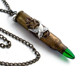 Fly Safely Home - Steampunk Bullet Necklace - Extra Long Chain