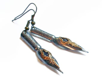 Love Letters - Vintage Pen Nibs - Calligraphy - Steel and Bronze Earrings Upcycled Jewelry - Eco-Friendly