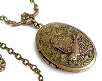 Etched Bronze Locket Necklace Jewelry - I'll Fly Away in the Morning