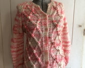 1960s Pink Mohair Cardigan Sweater Variegated Yarn Hugs and Kisses X's and O's