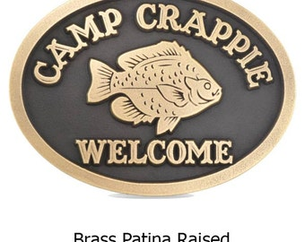 Fishing Camp Crappie Name or Remembrance Plaque Mans Cave too 12x9 by Atlas signs