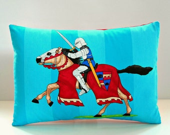 REDUCED TO CLEAR Knight in shining armour horse blue red decorative pillow cover, children's cushion cover 14 x 20 inch