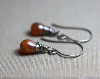 Hessonite Garnet Earrings Sterling Silver Wire Wrapped Earrings Burnt Orange Earrings Rustic Jewelry