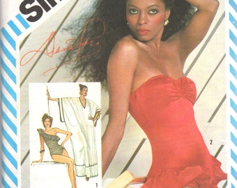 Simplicity 5874 1980s Diana Ross  Misses 1 Piece Swimsuit Pullover Caftan Pattern Womens Vintage Sewing Pattern Size 12 Bust 34 OR 6 & 8