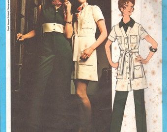 Vogue 2370 1970s Misses Midriff Jumpsuit and Coatdress Pattern Designer Chuck Howard Womens Vintage Sewing Pattern Size 12  Bust 34 UNCUT