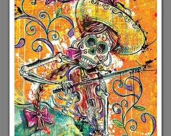 """8"""" x 10"""" or 12"""" x 18"""" Art Print Poster Day of the Dead Calavera Día de Los Muertos Fiddle Player"""