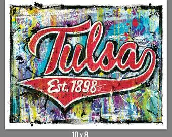 Tulsa Established 1898 Tulsa Oklahoma Art Print Poster 10 x 8, 18 x 12