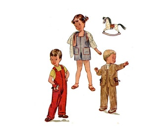 1950s Toddler Overalls and Jacket Pattern Long or Short Button Strap Rocking Horse Transfer Simplicity 3566 Size 2 Vintage Sewing Pattern