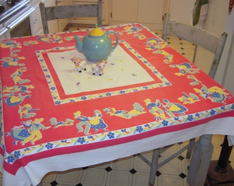 Vintage Tablecloth Square Dance Hoedown in the Barn