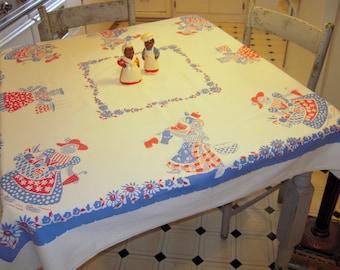 Vintage Black Americana Tablecloth A Day w Mammy Washing & Baking