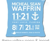 Birth announcement pillow nautical theme with medium BLUE or NAVY fabric pillowcase new baby gift custom whale and anchor throw pillow