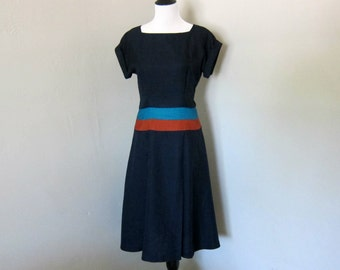 Vintage 1960s Dress, Beautiful Fit and Flare Mod Style Navy Dress with Boat Neck, Cap Sleeves and Teal and Rust Striped Waist by Nancy Greer