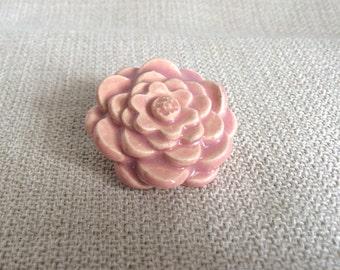 Handmade Ceramic Pink Flower Brooch, Pin