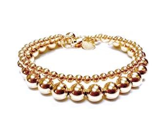 Set of Two (2) Bead Bracelets in 14K Yellow Gold Filled - 4mm and 8mm Rounds - 14K Yellow Gold Ball Bracelet - Simple Gold Bracelets