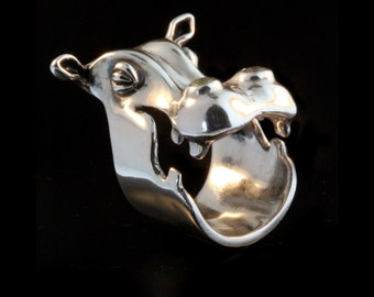 hippopotamus Ring - Henrietta Hippo Ring Silver Hippo Ring Hippo Jewelry Hippo Art Silver Jewelry African Animal Jewelry Large Animal Ring