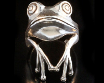 Tree Frog Ring Silver - Tree Frog Ring - Frog Jewelry Silver Frog - Frog Prince - Animal Ring