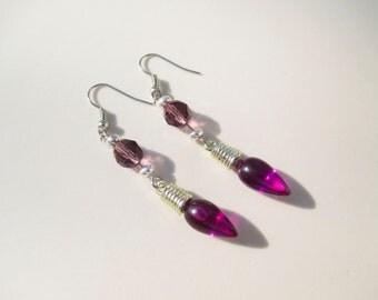Handmade Christmas Light Bulb Earrings in Purple Holiday xmas