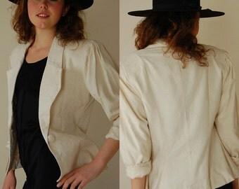 Silk Blazer Vintage 80s Does 40s Ecru Raw Silk Preppy Boho Draped Blazer Jacket (s m)