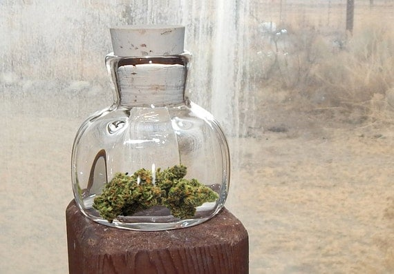 Nug Jug Herb Jar Small Clear Hand Blown Glass Bottle Amp Cork