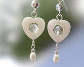 White Wedding Bridal Earrings Long Dangle Drops, Mother of Pearl Hearts, Sterling Silver