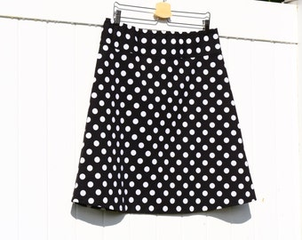 Polka Dot A Line skirt, Black with White Polka Dots, Skirt, simple a line, Custom Made, You choose Fitted, Comfy, Loose, Hip sizes 28-56""
