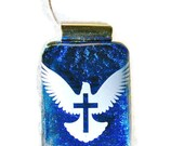 """Soaring Cross"""" Handcrafted Fused Dichroic Glass Pendant with Silver Plated Chain"""