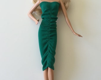 Handmade Barbie Clothes Green Formal Evening Dress (S503)