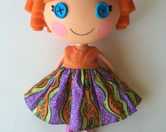 Handmade Lalaloopsy Clothes Purple Green and Orange Dress